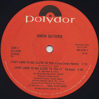 Gwen Guthrie / Close To You label