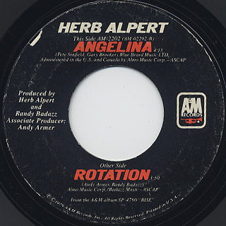 Herb Alpert / Rotation c/w Angelina back