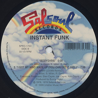Instant Funk / I Got My Mind Made Up (You Can Get It Girl) label