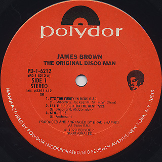 James Brown / The Original Disco Man label