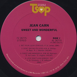 Jean Carn / Sweet And Wonderful label