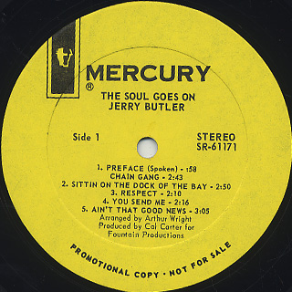 Jerry Butler / The Soul Goes On label