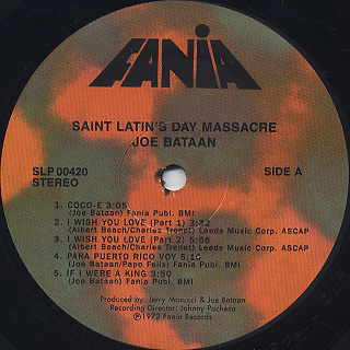 Joe Bataan / Saint Latin's Day Massacre label