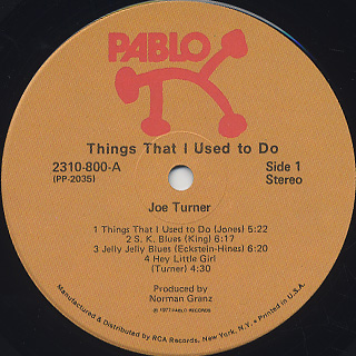 Joe Turner / Things That I Used To Do label