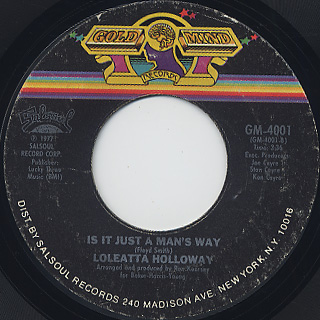 Loleatta Holloway / Hit And Run c/w Is It Just A Man's Way back