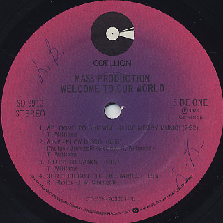 Mass Production / Welcome To Our World label