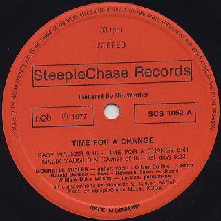 Monnette Sudler Quartet/Quintet / Time For A Change label