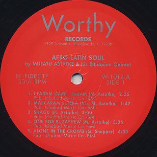 Mulatu Astatke & His Ethiopian Quintet / Afro-Latin Soul label