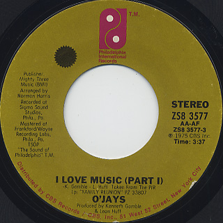 O'Jays / I Love Music front