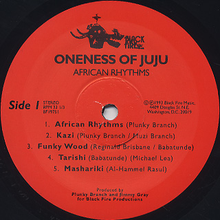 Oneness Of Ju Ju / African Rhythms label
