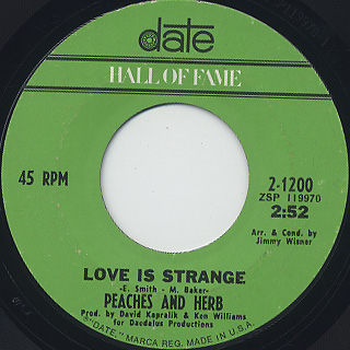 Peaches And Herb / United c/w Love Is Strange back