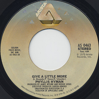 Phyllis Hyman / You Know How To Love Me c/w Give A Little More back