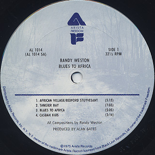 Randy Weston / Blues To Africa label