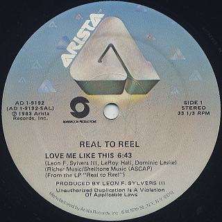 Real To Reel / Love Me Like This c/w Taking The Long Way Home back