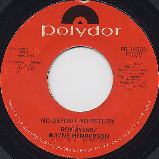 Roy Ayers And Wayne Henderson / No Deposit No Return