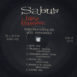 Sabu Martinez And His Jazz-Espagnole / Sabu's Jazz Espagnole label