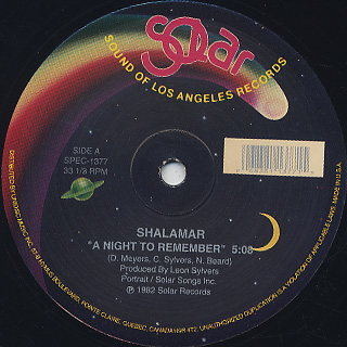 Shalamar A Night To Remember 12inch Solar 中古レコード通販
