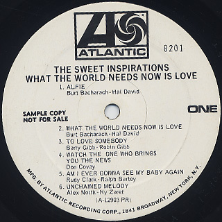 Sweet Inspirations / What The World Needs Now Is Love label