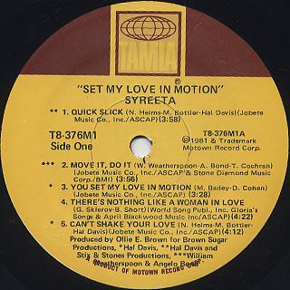 Syreeta / Set My Love In Motion label