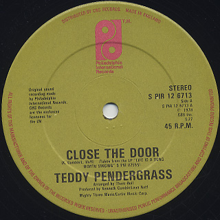 Teddy Pendergrass / Close The Door c/w Only You label