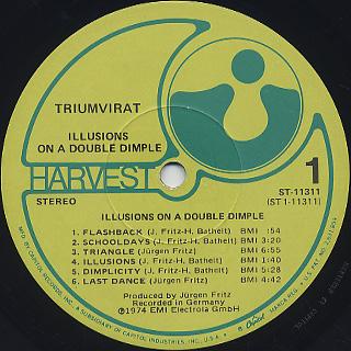 Triumvirat / Illusions On A Double Dimple label