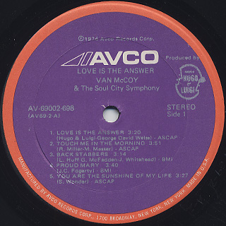 Van McCoy / Love Is The Answer label