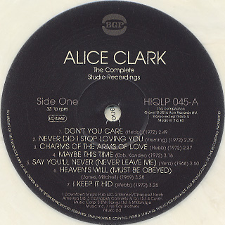 Alice Clark / The Complete Studio Recordings label