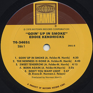 Eddie Kendricks / Goin' Up In Smoke label