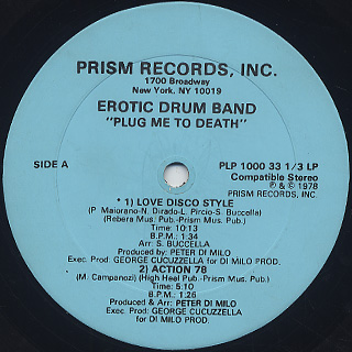 Erotic Drum Band / Plug Me To Death label