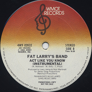 Fat Larry's Band / Act Like You Know (12