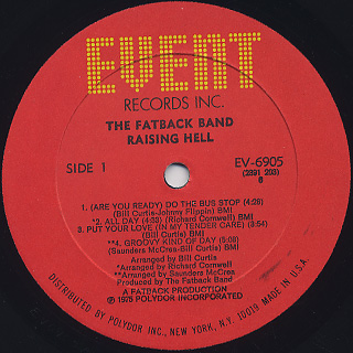 Fatback Band / Raising Hell label