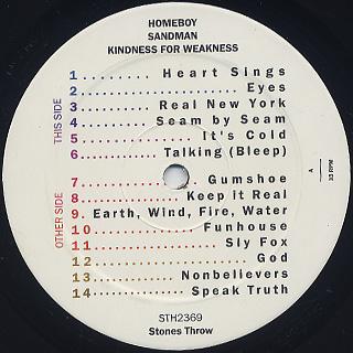 Homeboy Sandman / Kindness For Weakness label