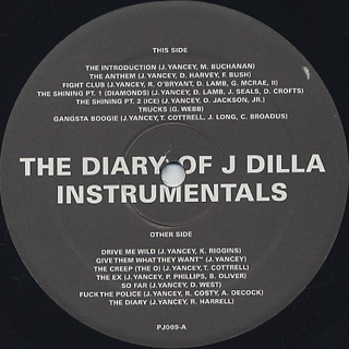 J Dilla / The Diary (Instrumentals) label