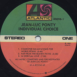 Jean-Luc Ponty / Individual Choice label