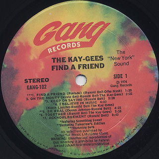Kay-Gees / Find A Friend label