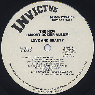 Lamont Dozier / Love And Beauty label