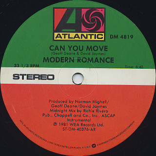 Modern Romance / Can You Move label