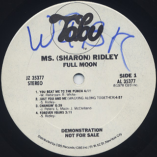 Ms. (Sharon) Ridley / Full Moon label