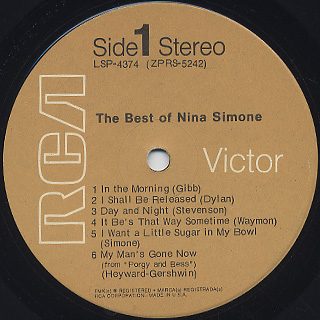 Nina Simone / The Best Of Nina Simone label