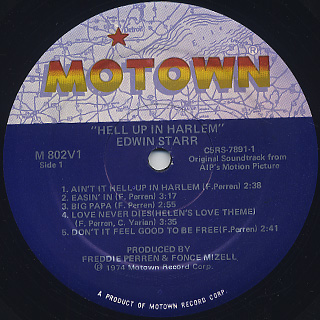 O.S.T.(Edwin Starr) / Hell Up In Harlem label