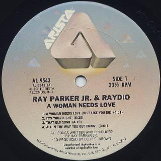Ray Parker Jr. And Raydio / A Woman Needs Love label