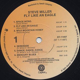 Steve Miller Band / Fly Like An Eagle label