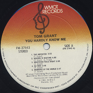 Tom Grant / You Hardly Know Me label