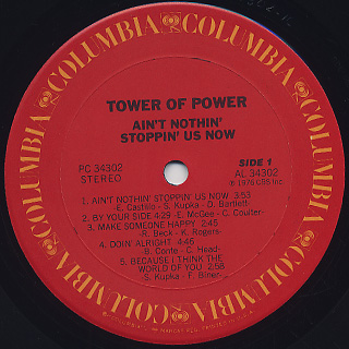 Tower Of Power / Ain't Nothin' Stoppin' Us Now label