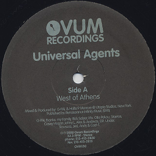 Universal Agents / West Of Athens & East Of Washington back