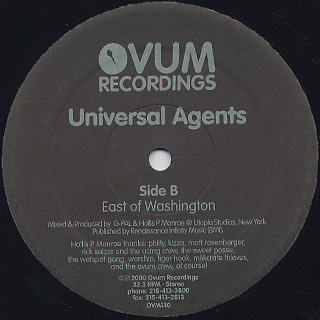 Universal Agents / West Of Athens & East Of Washington label