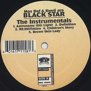 Black Star / Mos Def & Talib Kweli Are Black Star The Instrumentals back