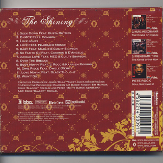J Dilla / The Shining (CD) back