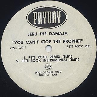 Jeru The Damaja / You Can't Stop The Prophet back