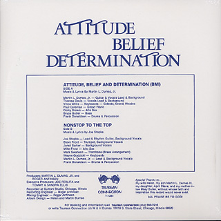 Martin L. Dumas, Jr. / Attitude, Belief & Determination back